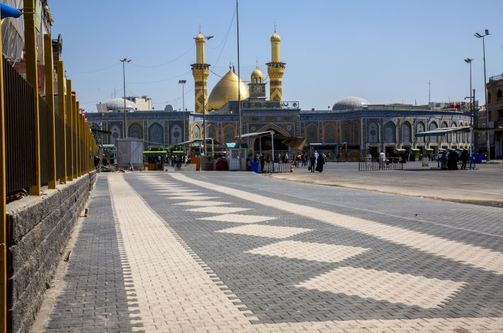 The completion of adding more than a thousand square meters to serve visitors. - The staff of the Maintenance and Engineering Construction Department at the al-Abbas's (p) Holy Shrine has completed all the work related to adding (1450) square meters to the courtyard of al-Joud, lo...