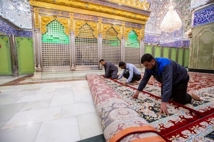 A set of new carpets cover the floor of the sanctuary of Aba Al-Fadl Al-Abbas (peace be upon him).