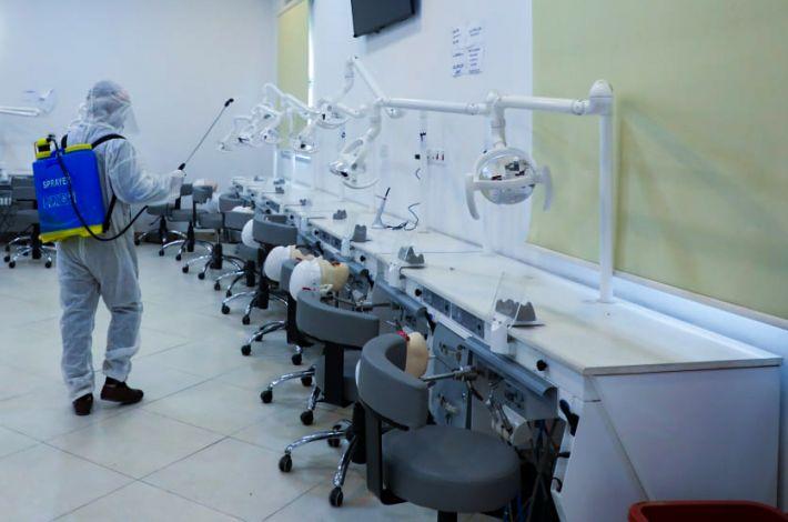 Al-Ameed University forms mobile teams for sterilization as a precautionary measure.